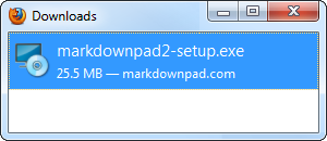 Firefox Step 2: Open the MarkdownPad installer.