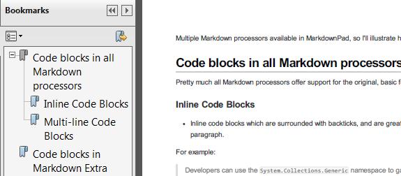 MarkdownPad 2 PDF outline